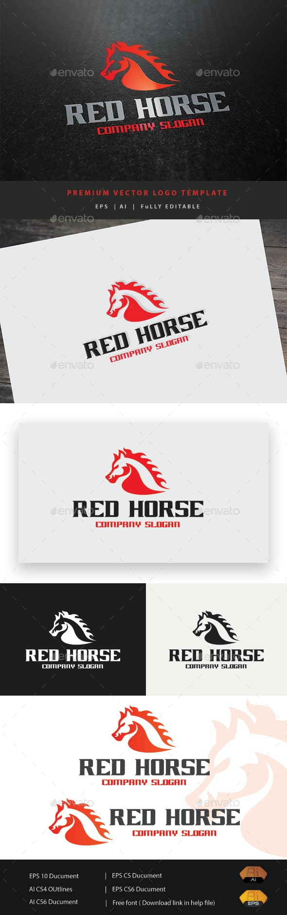 Red Horse - Animals Logo Templates