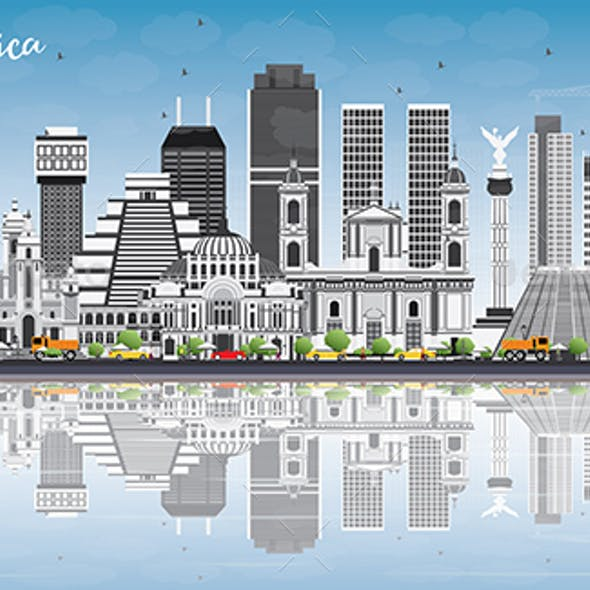 South America Skyline with Famous Landmarks and Reflections