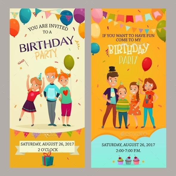 Kids Party Invitation Banners Set - Birthdays Seasons/Holidays