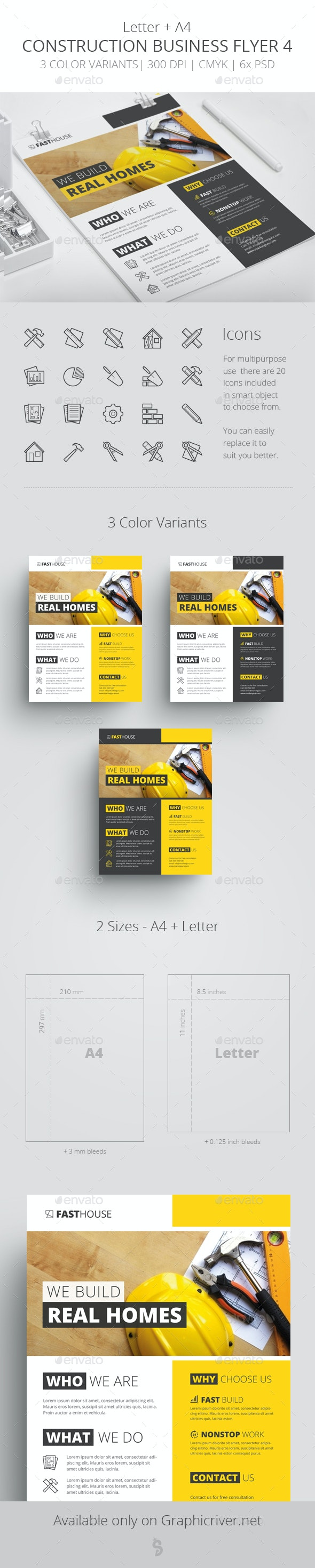 Construction Business Flyer 4 - Letter + A4 - Corporate Flyers