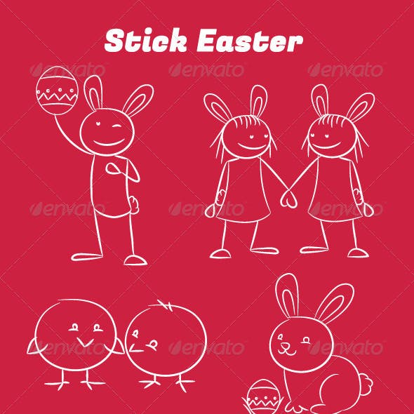 18 Different Poses of Easter Stickmen