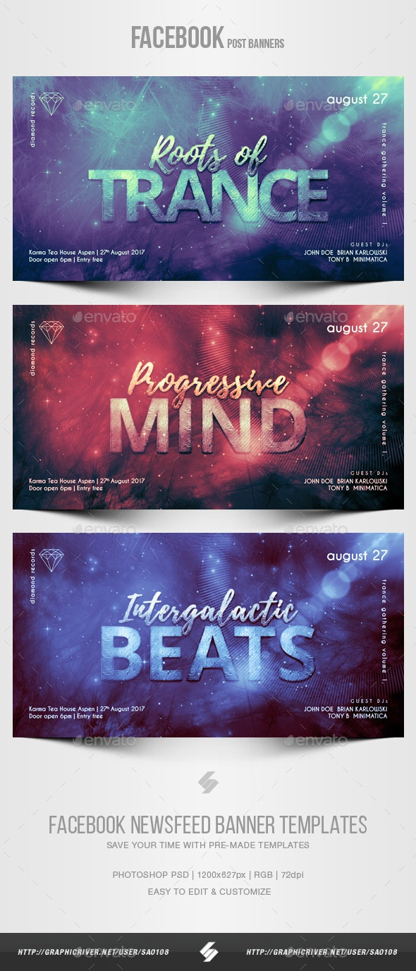 Electronic Music Party vol.26 - Facebook Post Banner Templates - Social Media Web Elements