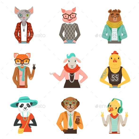 Humanized Animals in Fashion Clothes Set