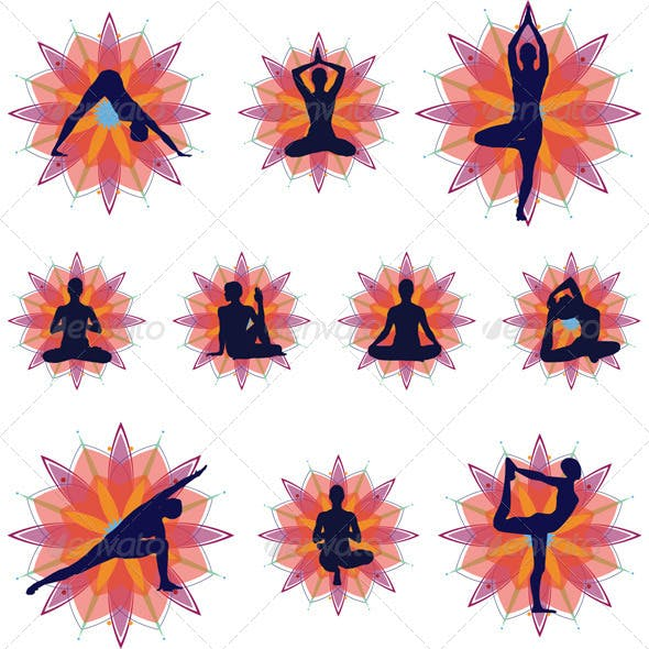 Yoga Silhouettes - Icons Set
