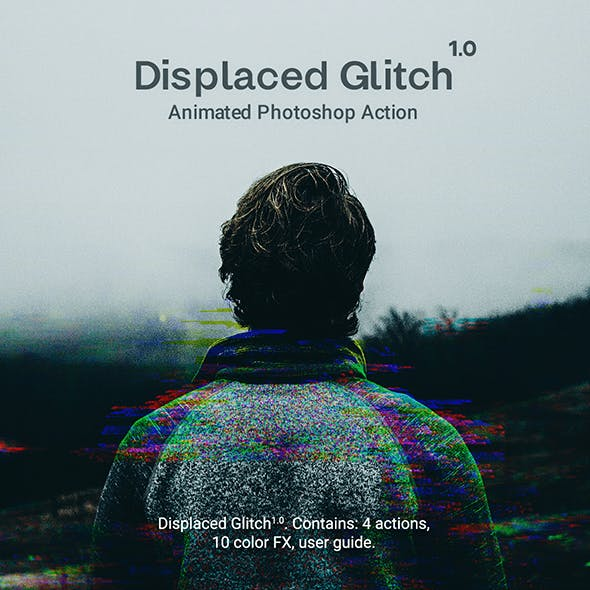 Displaced Glitch - Animated Photoshop Action