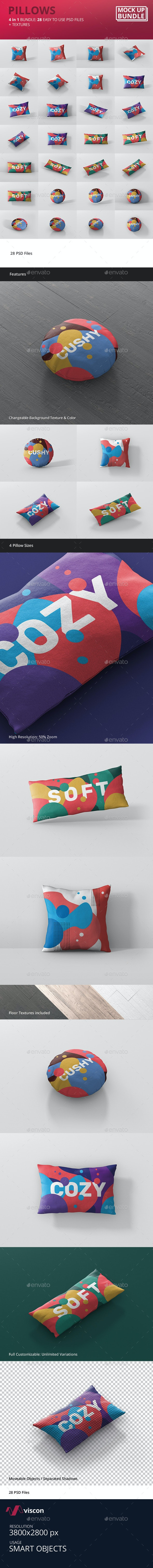 Pillow Mockup Bundle - Miscellaneous Product Mock-Ups