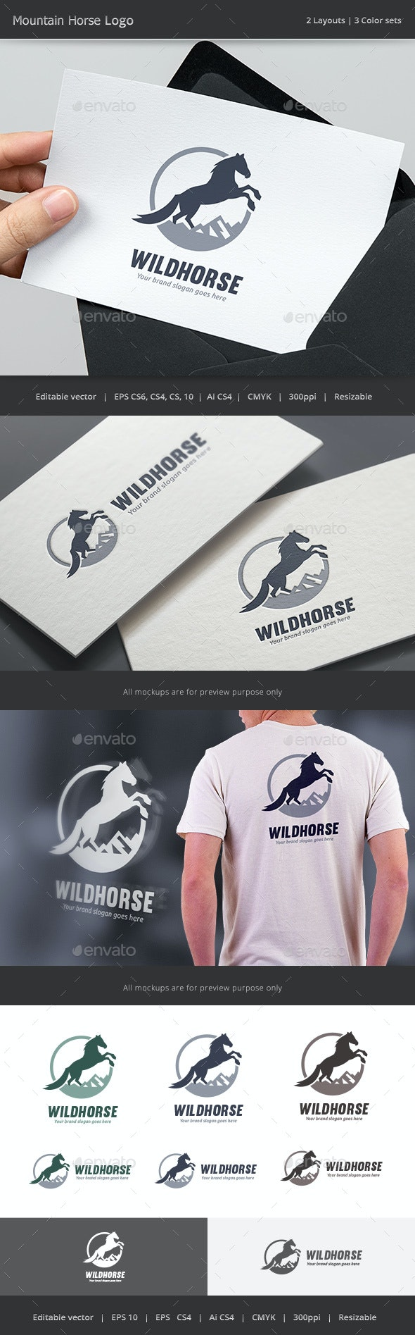 Mountain Horse Logo - Animals Logo Templates