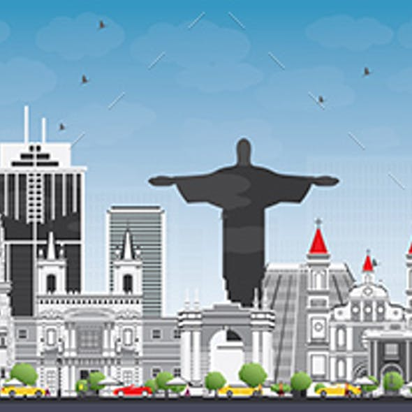 South America Skyline with Famous Landmarks.