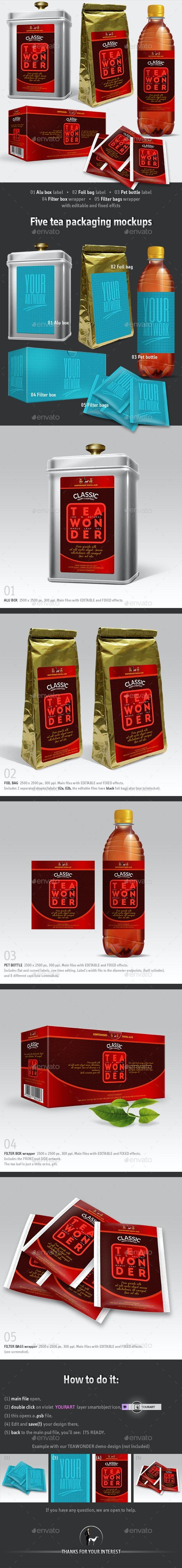 5 Tea Packaging Mockups - Packaging Product Mock-Ups