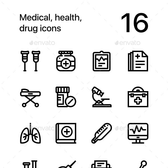 Medical, Health, Drug Icons for Web and Mobile Design Pack 2