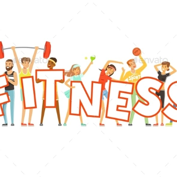 People in Sport Uniforms Holding the Word Fitness