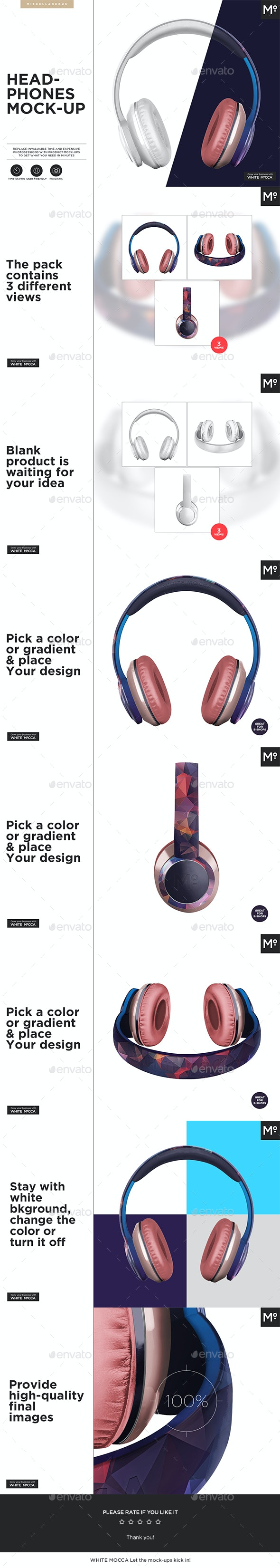 Headphones Mock-up - Miscellaneous Product Mock-Ups