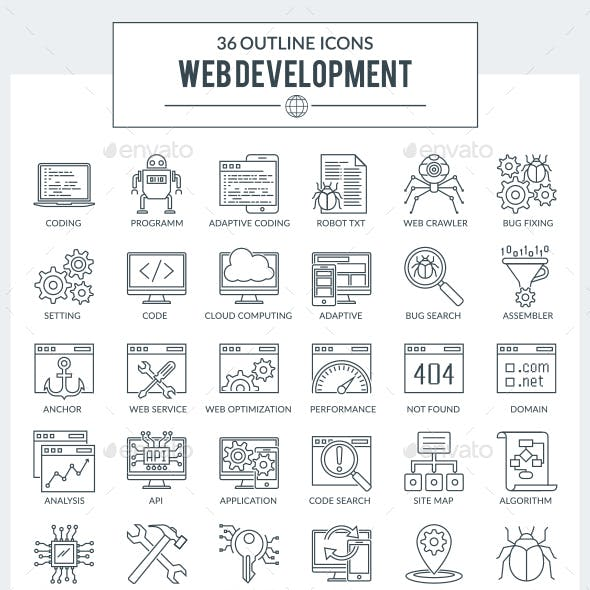 Outline Icons WEB Development and Programming