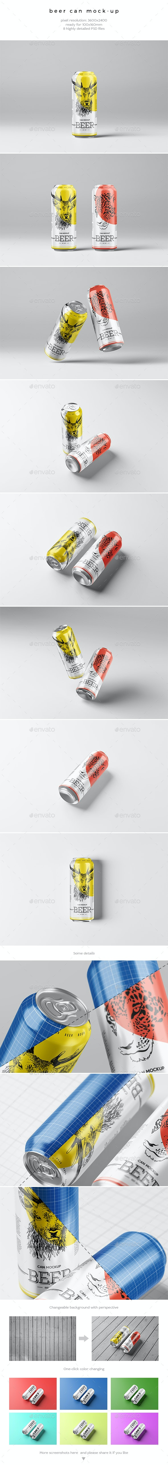 Beer Can Mock-Up - Food and Drink Packaging