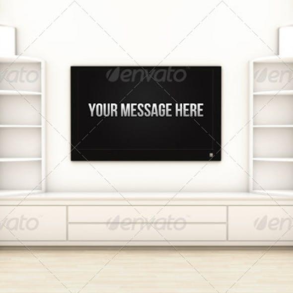 Living Room Render Scene with Center Screen LED TV