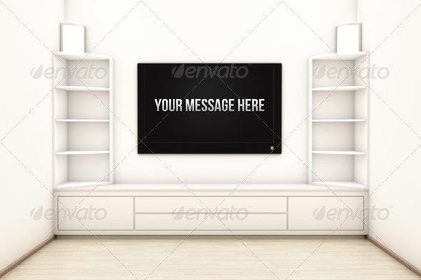 Living Room Render Scene with Center Screen LED TV - 3D Renders Graphics