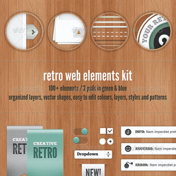 Retro Web Elements - Blue & Green Collection
