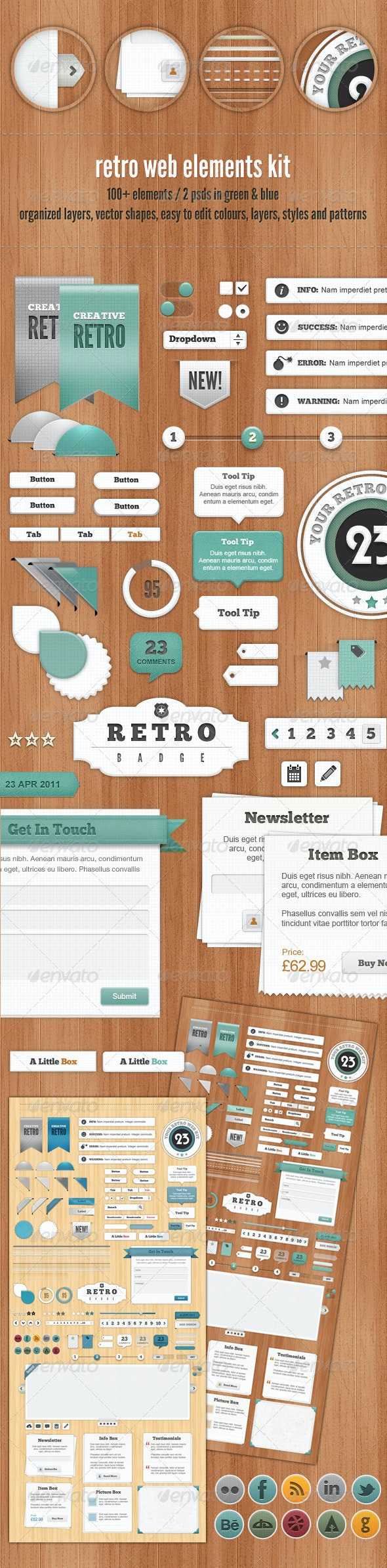 Retro Web Elements - Blue & Green Collection - Miscellaneous Web Elements