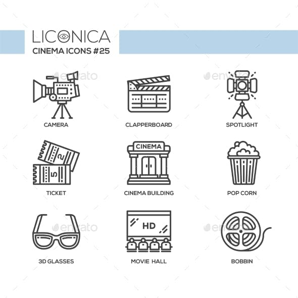 Cinema - Modern Vector Flat Line Design Icons Set