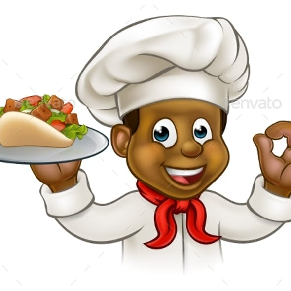 Cartoon Black Chef with Kebab