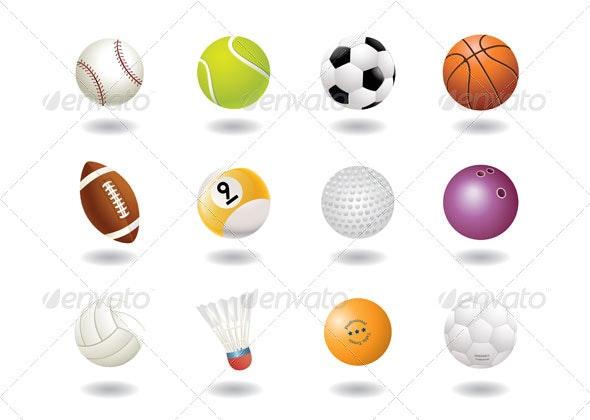 12 Ball's Icons - Sports/Activity Conceptual