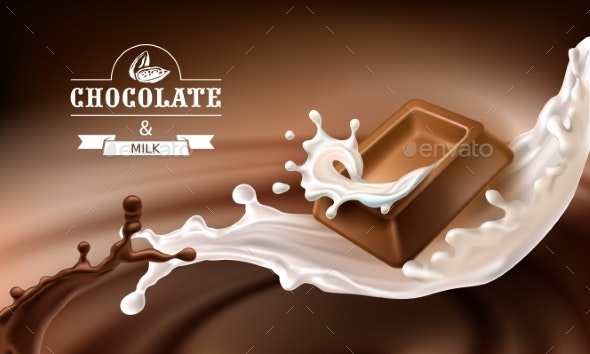 Vector 3D Splashes of Melted Chocolate and Milk - Food Objects