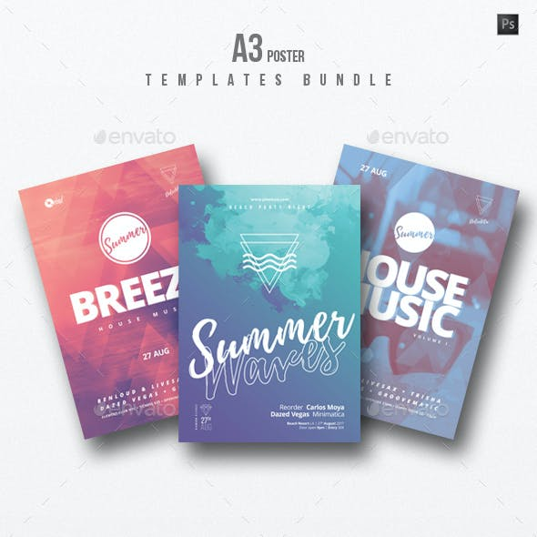 House Music 3 - Party Flyer / Poster Templates Bundle