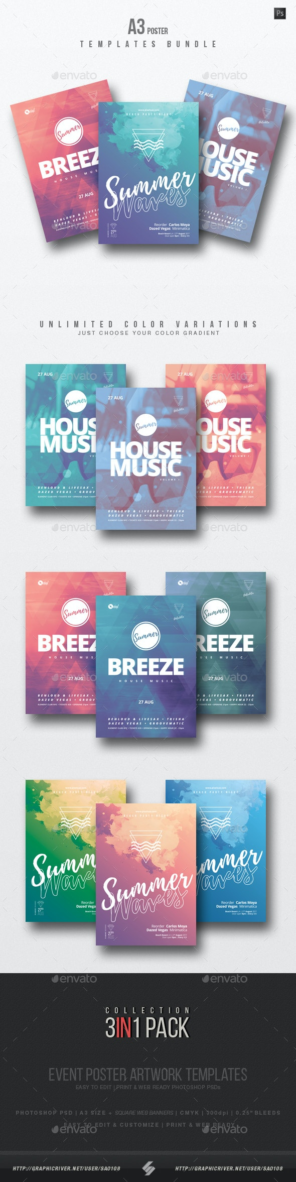 House Music 3 - Party Flyer / Poster Templates Bundle - Clubs & Parties Events