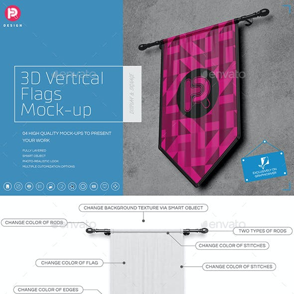 3D Vertical Flags Mock-Up (set 1)