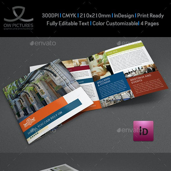 Hotel and Motel Bi-Fold Brochure Template