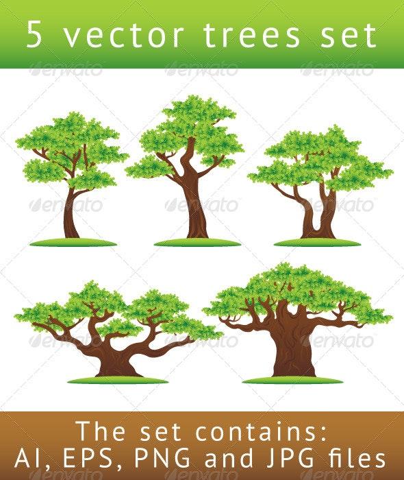 Green oak trees vector illustrations set - Flowers & Plants Nature