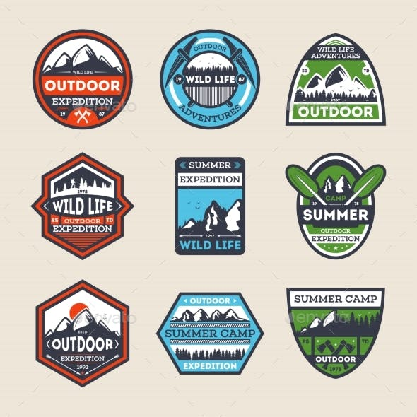 Outdoor Expedition Vintage Isolated Label Set