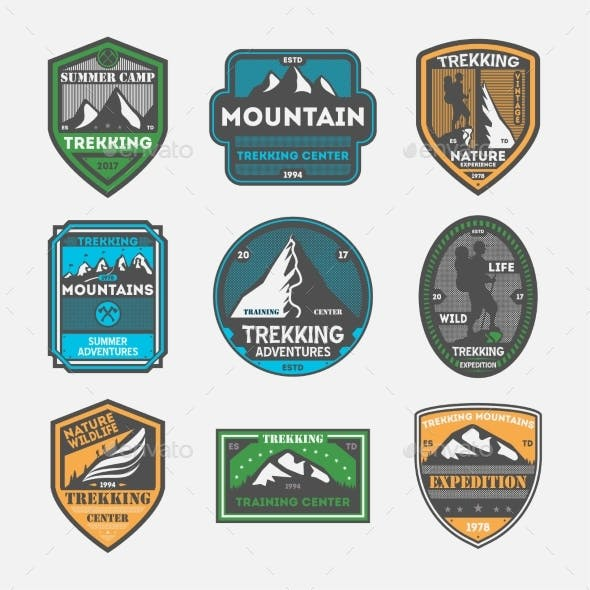 Trekking Expedition Vintage Isolated Label Set