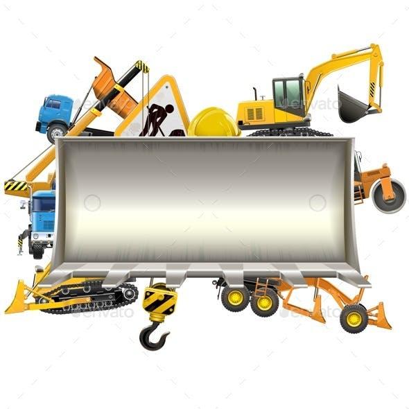 Vector Construction Frame with Bulldozer Shovel