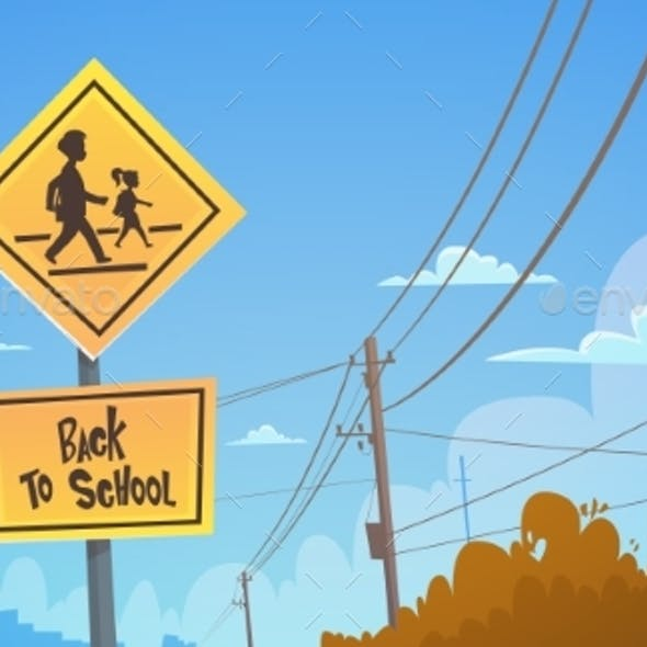 Back To School Road Sign Over Blue Sky