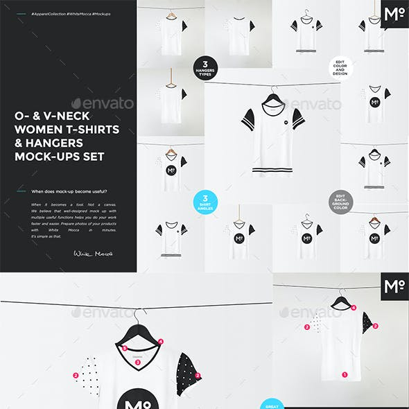 O- & V-neck Women T-shirts & Hangers Mock-ups Set