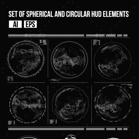 Set of Futuristic Circular HUD Elements