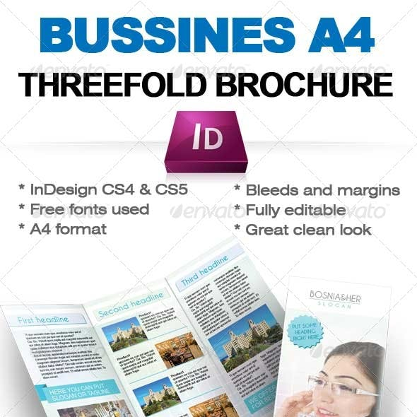 Business threefold brochure Indesign A4 temaplate