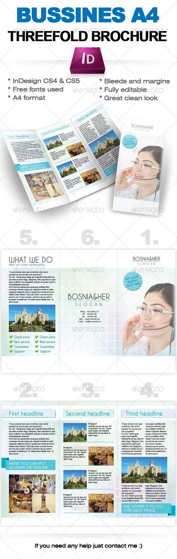 Business threefold brochure Indesign A4 temaplate - Corporate Brochures