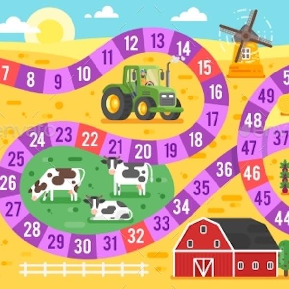Vector Flat Style Illustration of Kids Farm Board