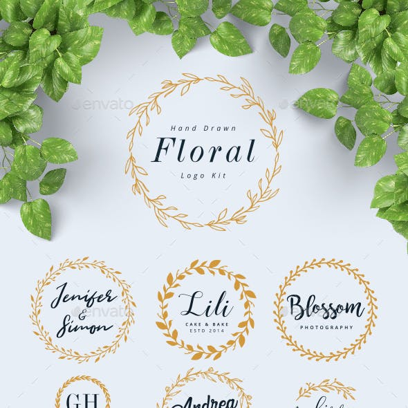 Hand Drawn Floral Logo Kit