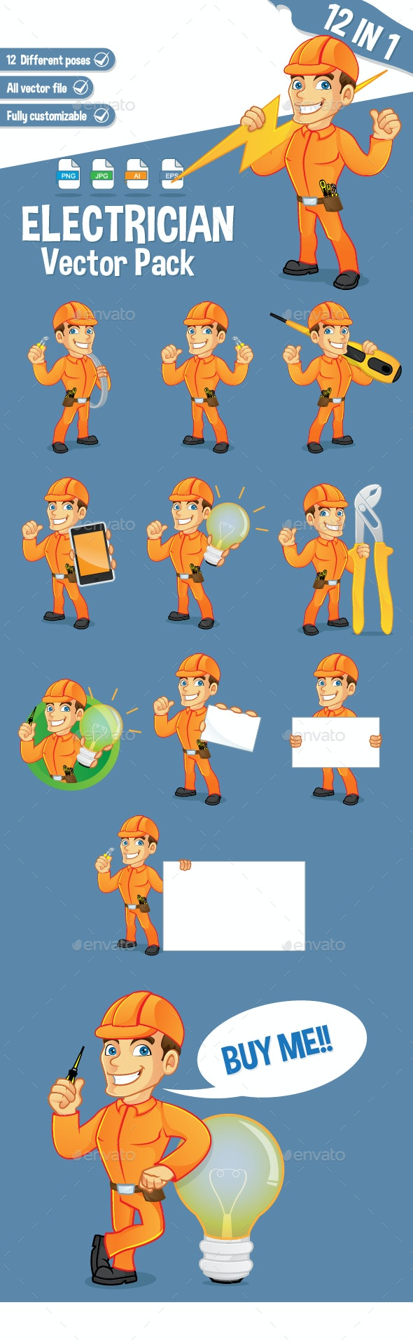 Electrician Mascot Pack - People Characters