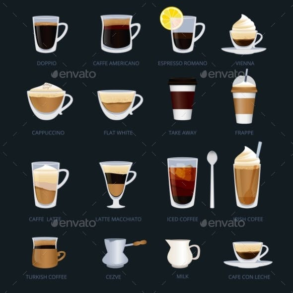 Mugs with Different Type of Coffee. Espresso