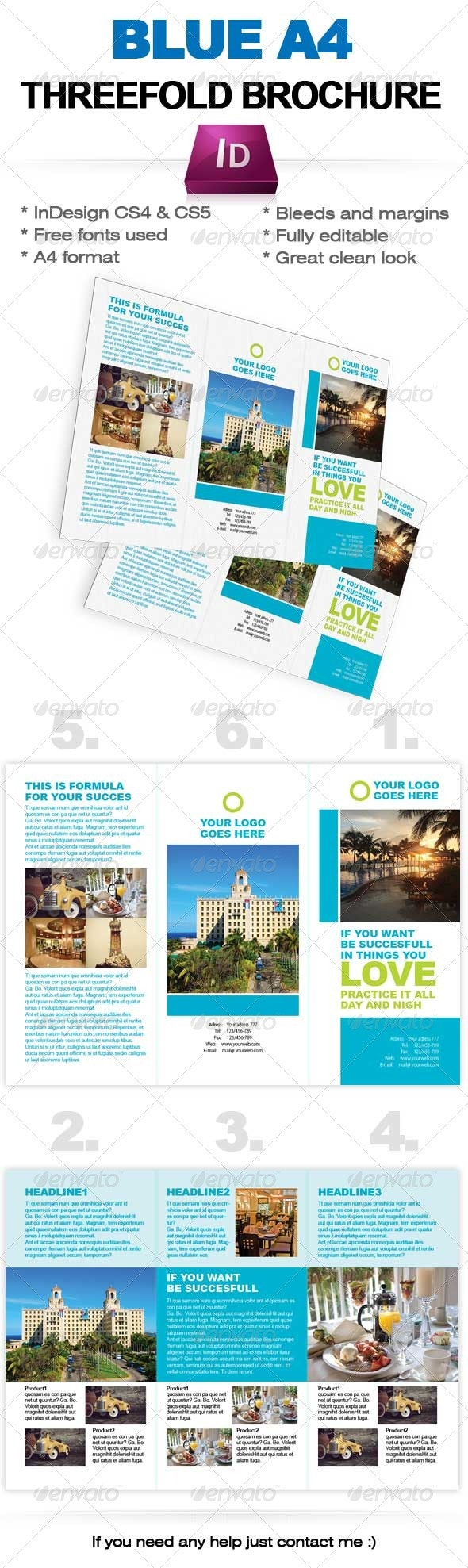 Blue Threefold brochure InDesign template (A4) - Corporate Brochures