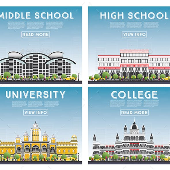 Set of University, High School and College Study Banners