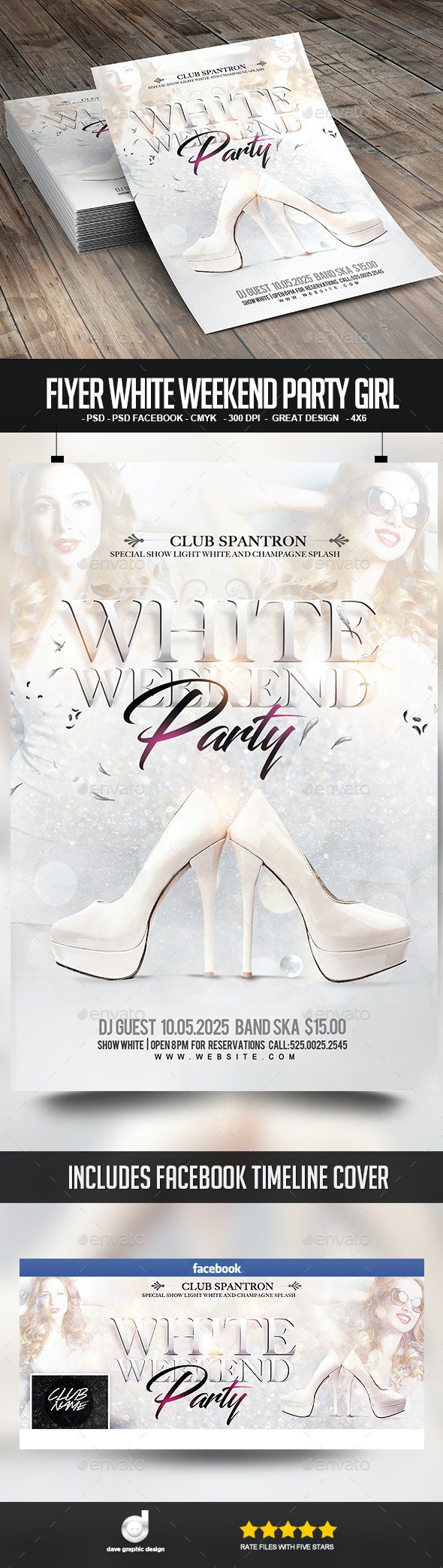 Flyer White Weekend Party Girl - Clubs & Parties Events