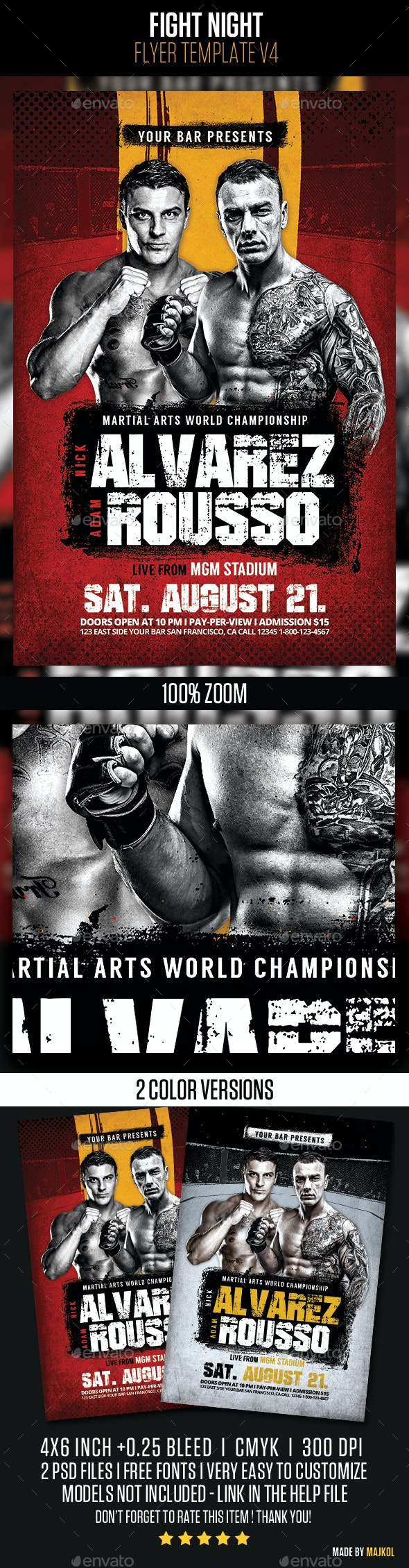 Fight Night Flyer Template v4 - Sports Events