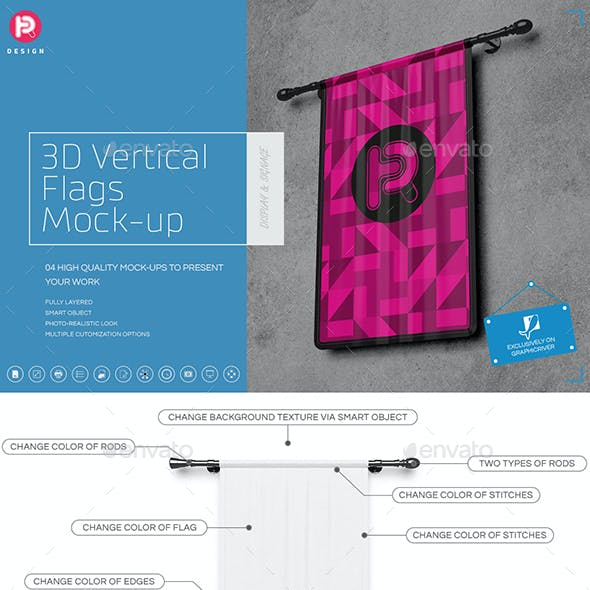 3D Vertical Flags Mock-Up (set 2)