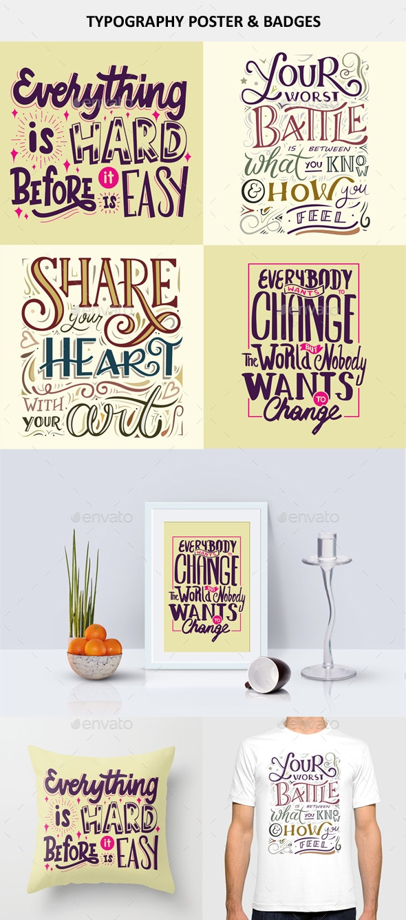 Typography Poster And Badges Set - Badges & Stickers Web Elements