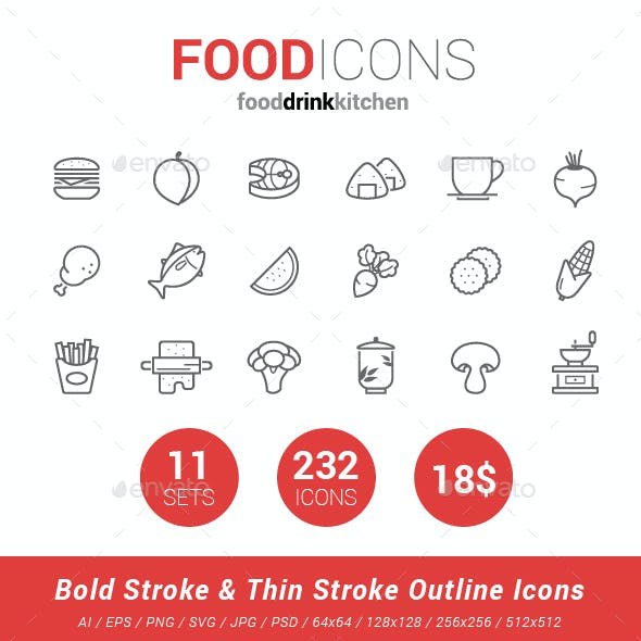 232 Food Line Icon